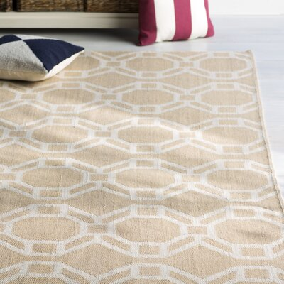 Fowler Khaki/Cream Indoor/Outdoor Area Rug Rug Size: Rectangle 9 x 12
