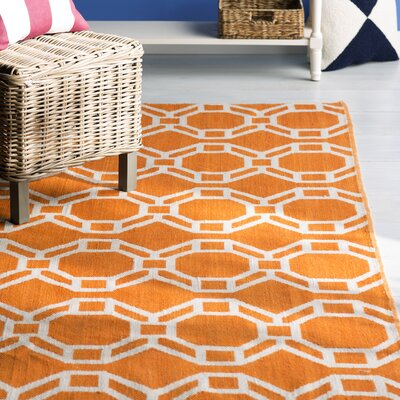 Fowler Orange/Cream Indoor/Outdoor Area Rug Rug Size: 2 x 3