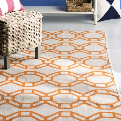 Fowler Cream/Orange Indoor/Outdoor Area Rug Rug Size: Rectangle 9 x 12