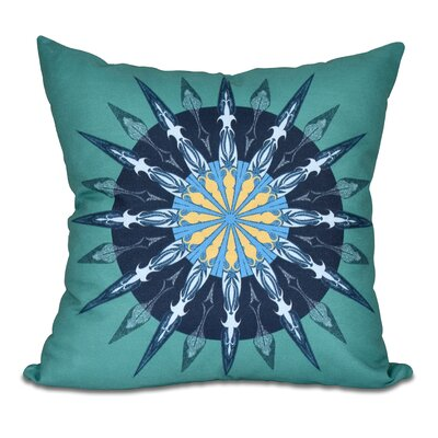 Hancock Sea Wheel Geometric Print Throw Pillow Size: 16 H x 16 W, Color: Green