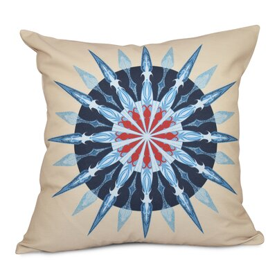 Hancock Sea Wheel Geometric Print Throw Pillow Size: 18 H x 18 W, Color: Taupe/Beige