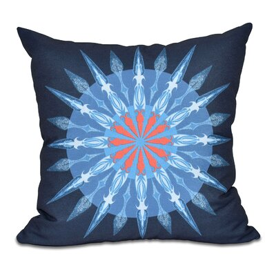 Hancock Sea Wheel Geometric Print Throw Pillow Size: 16 H x 16 W, Color: Navy Blue