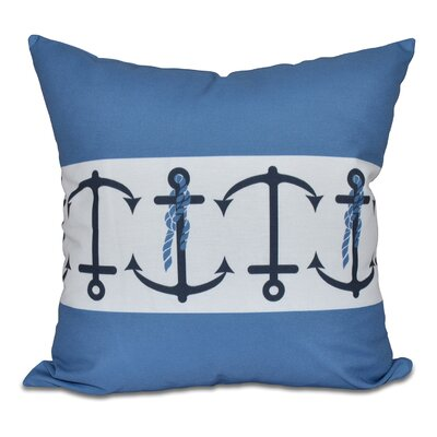 Hancock Anchor Stripe Print Throw Pillow Color: Blue, Size: 18 H x 18 W