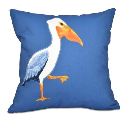 Cavendish Pelican March Animal Print Throw Pillow Size: 16 H x 16 W, Color: Blue