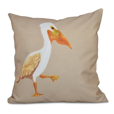 Cavendish Pelican March Animal Print Throw Pillow Size: 26 H x 26 W, Color: Taupe/Beige