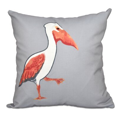 Cavendish Pelican March Animal Print Throw Pillow Size: 18 H x 18 W, Color: Gray