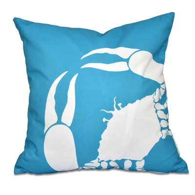 Shirley Mills Crab Dip Animal Print Throw Pillow Size: 26 H x 26 W, Color: Turquoise