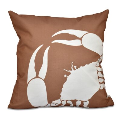 Shirley Mills Crab Dip Animal Print Throw Pillow Size: 18 H x 18 W, Color: Taupe/Beige