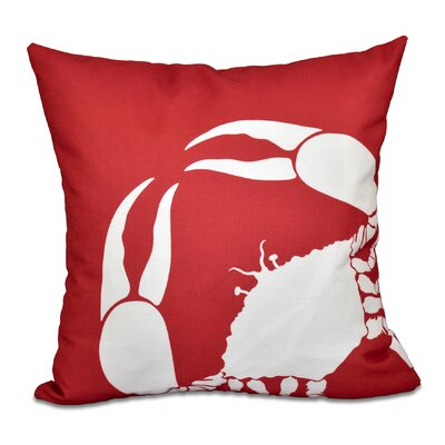 Shirley Mills Crab Dip Animal Print Throw Pillow Size: 26 H x 26 W, Color: Coral