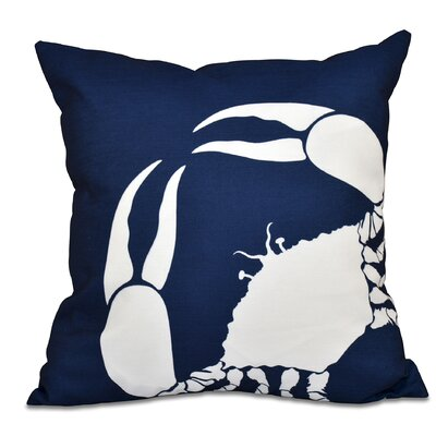 Shirley Mills Crab Dip Animal Print Throw Pillow Size: 16 H x 16 W, Color: Navy Blue