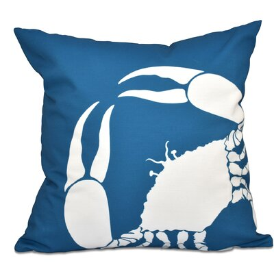 Shirley Mills Crab Outdoor Throw Pillow Color: Teal, Size: 20