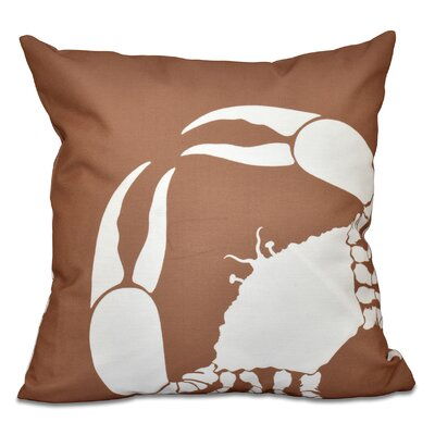 Shirley Mills Crab Outdoor Throw Pillow Size: 18 H x 18 W, Color: Taupe