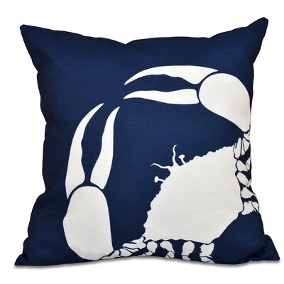 Shirley Mills Crab Outdoor Throw Pillow Size: 20 H x 20 W, Color: Navy Blue