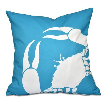 Shirley Mills Crab Outdoor Throw Pillow Size: 18 H x 18 W, Color: Turquoise