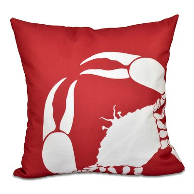 Shirley Mills Crab Outdoor Throw Pillow Size: 18 H x 18 W, Color: Coral