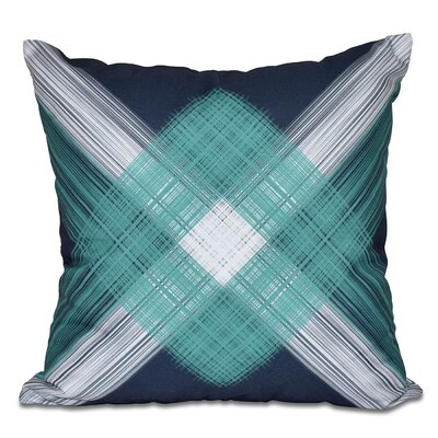 Hancock String Art Geometric Print Outdoor Throw Pillow Size: 18 H x 18 W, Color: Navy Blue