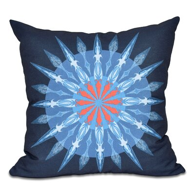 Hancock Sea Wheel Geometric Print Outdoor Throw Pillow Size: 18 H x 18 W, Color: Navy Blue