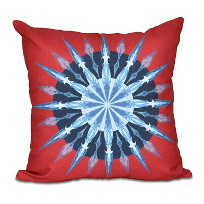 Hancock Sea Wheel Geometric Print Outdoor Throw Pillow Size: 18 H x 18 W, Color: Red