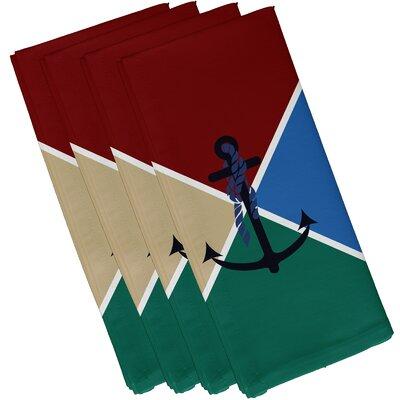 Hancock Anchor Flag Geometric Print Napkin Color: Red