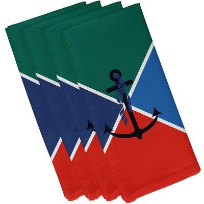 Hancock Anchor Flag Geometric Print Napkin Color: Green