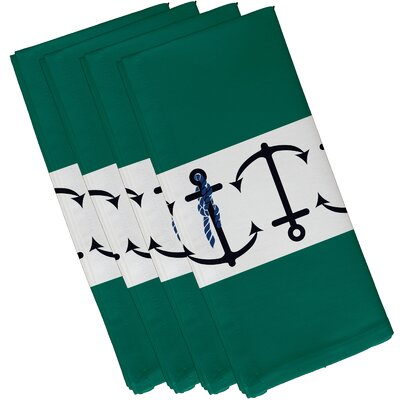 Hancock Anchor Stripe Print Napkin Color: Green