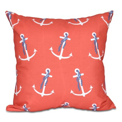 Hancock Anchor Whimsy Geometric Print Throw Pillow Size: 18 H x 18 W, Color: Orange
