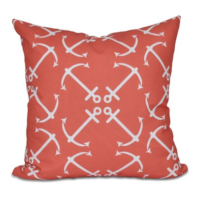 Hancock Anchors Up Geometric Print Throw Pillow Size: 18 H x 18 W, Color: Orange