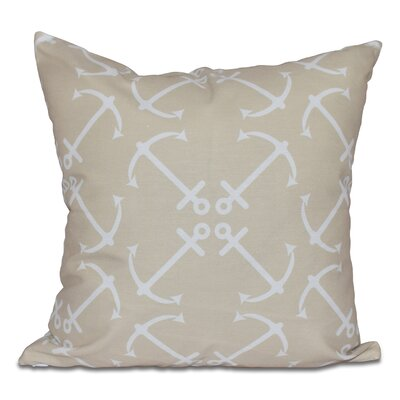 Hancock Anchors Up Geometric Print Throw Pillow Color: Taupe, Size: 26 H x 26 W