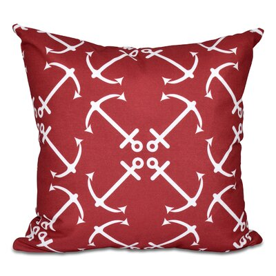Hancock Anchors Up Geometric Print Throw Pillow Size: 16 H x 16 W, Color: Red