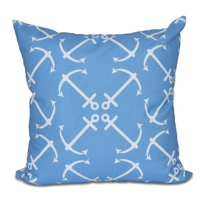 Hancock Anchors Up Geometric Print Throw Pillow Size: 18 H x 18 W, Color: Mid Blue
