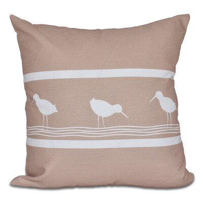 Hancock Birdwalk Animal Print Outdoor Throw Pillow Size: 18 H x 18 W, Color: Taupe
