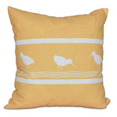 Hancock Birdwalk Animal Print Outdoor Throw Pillow Size: 18 H x 18 W, Color: Yellow