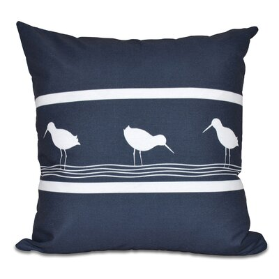 Hancock Birdwalk Animal Print Outdoor Throw Pillow Color: Navy Blue, Size: 20 H x 20 W