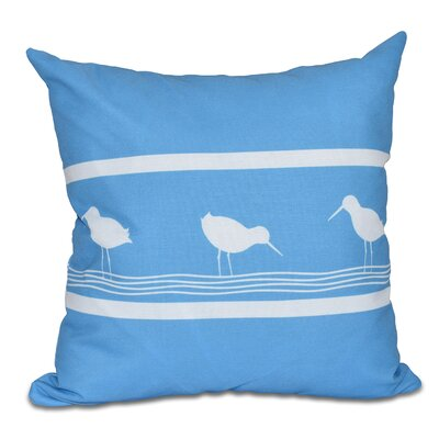 Hancock Birdwalk Animal Print Outdoor Throw Pillow Size: 18 H x 18 W, Color: Blue