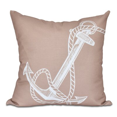 Hancock Anchored Geometric Print Outdoor Throw Pillow Size: 18 H x 18 W, Color: Taupe