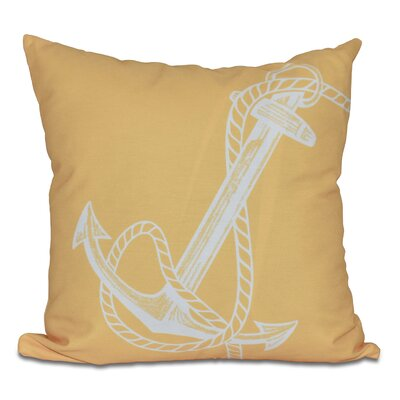 Hancock Anchored Geometric Print Outdoor Throw Pillow Color: Yellow, Size: 18 H x 18 W