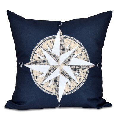 Hancock Compass Geometric Print Outdoor Throw Pillow Size: 18 H x 18 W, Color: Navy Blue