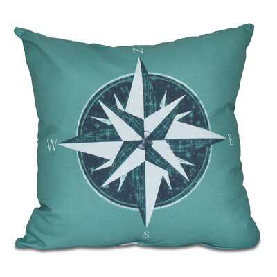 Hancock Compass Geometric Print Outdoor Throw Pillow Size: 20 H x 20 W, Color: Green