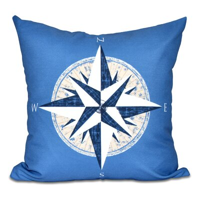 Hancock Compass Geometric Print Outdoor Throw Pillow Size: 18 H x 18 W, Color: Blue