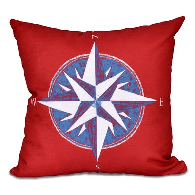 Hancock Compass Geometric Print Outdoor Throw Pillow Size: 18 H x 18 W, Color: Red