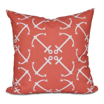 Hancock Anchors Up Geometric Print Outdoor Throw Pillow Size: 20 H x 20 W, Color: Orange