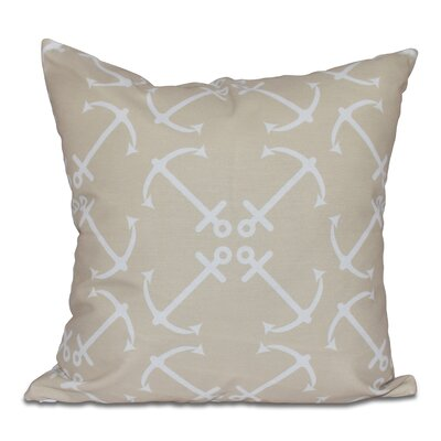 Hancock Anchors Up Geometric Print Outdoor Throw Pillow Size: 18 H x 18 W, Color: Taupe