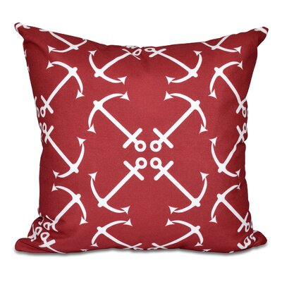 Hancock Anchors Up Geometric Print Outdoor Throw Pillow Size: 18 H x 18 W, Color: Red