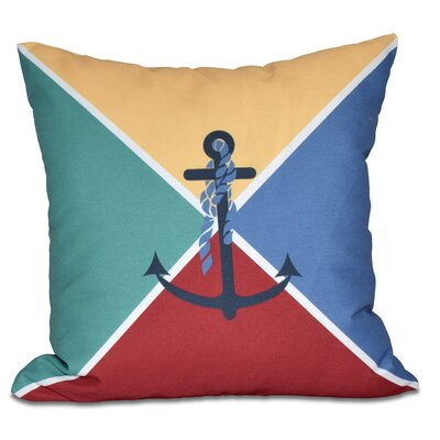 Hancock Anchor Flag Geometric Print Outdoor Throw Pillow Size: 18 H x 18 W, Color: Yellow