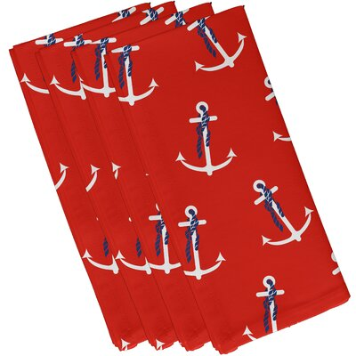 Hancock Anchor Whimsy Geometric Print Napkin Color: Orange