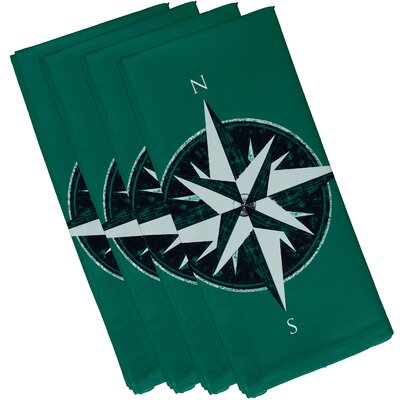 Hancock Compass Geometric Print Napkin Color: Green