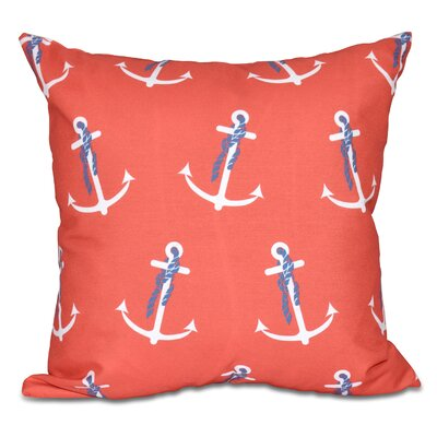 Bridgeport Anchor Whimsy Geometric Print Outdoor Throw Pillow Size: 18 H x 18 W, Color: Orange