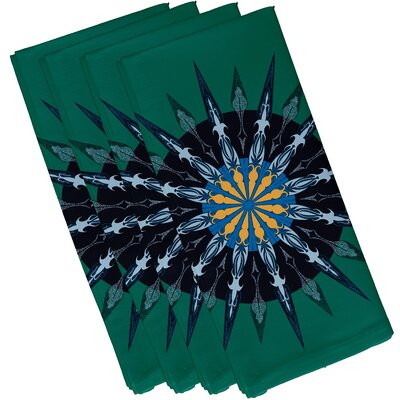 Hancock Sea Wheel Geometric Print Napkin Color: Green