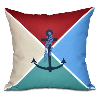 Hancock Anchor Flag Geometric Print Throw Pillow Size: 18 H x 18 W, Color: Red