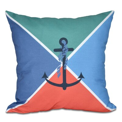 Hancock Anchor Flag Geometric Print Throw Pillow Color: Green, Size: 18 H x 18 W